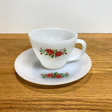 Vintage Anchor Hocking Fire King Primrose Cup and Saucer Milk Glass by OverTheYearsFinds
