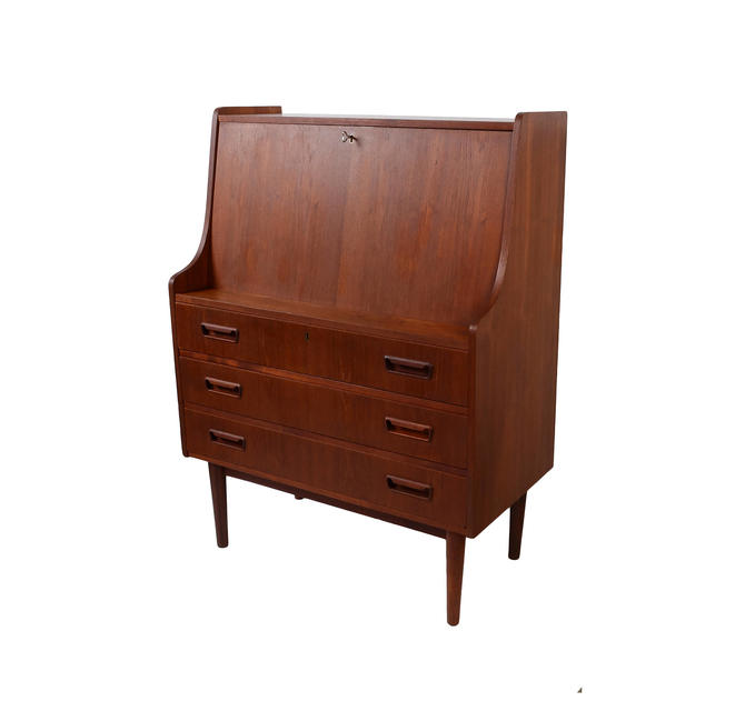 Teak Desk Drop Front Danish Modern by HearthsideHome