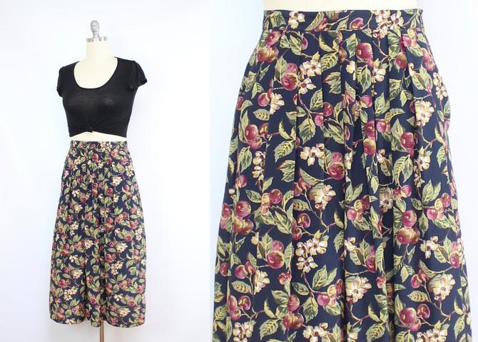 Vintage 90's Fruit Print Skirt / 1990's Apple Cherry Skirt / Midi Skirt / Summer Skirt with Pockets / Women's Size Medium - Large by RubyThreadsVintage