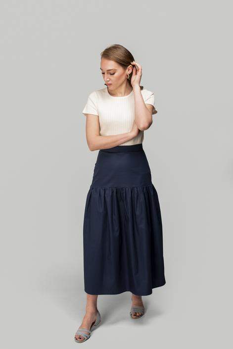 Drop-Waist Gathered Skirt