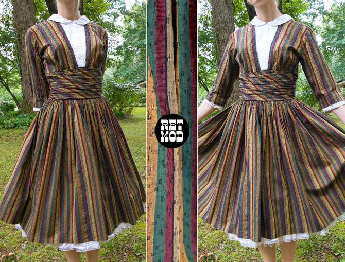 Sweet Vintage 50s Brown Olive Green Mustard Yellow Stripe Fit & Flare Cotton Dress with White Bib Front by RETMOD
