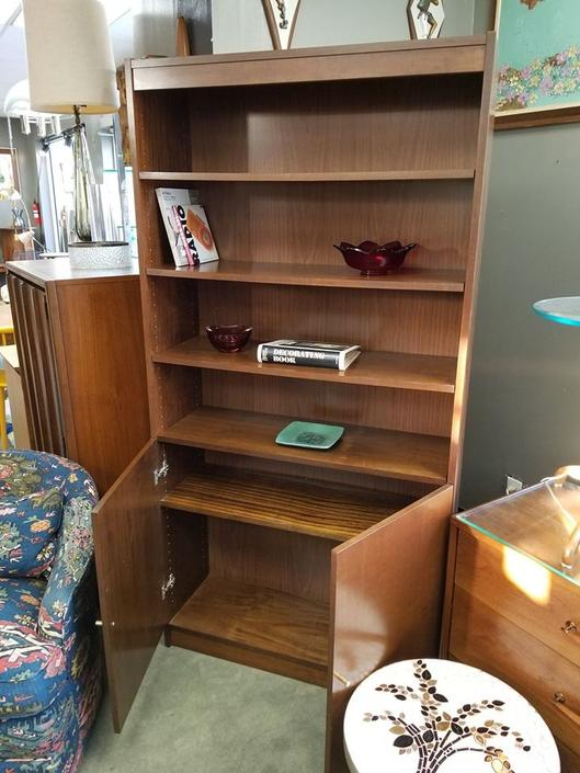 Vintage bookcase with lower storage cabinet