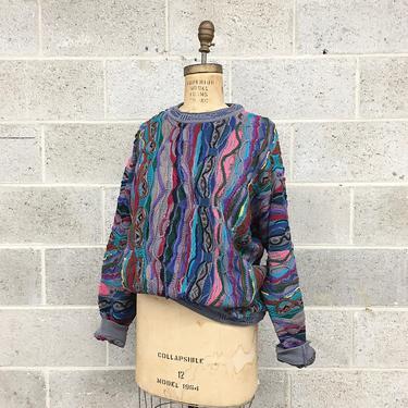 Vintage Coogi Sweater Retro 1980s Unisex Size L + Multi Color + Knit + Long Sleeve + Crew Neck Pullover + Australia + Fall Winter Fashion by RetrospectVintage215