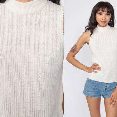 White Knit Tank Top 70s Sleeveless Sweater Vest Mock Neck Shirt Boho Vintage Bohemian Cable knit Acrylic Knit Plain Basic Extra Small xs s by ShopExile