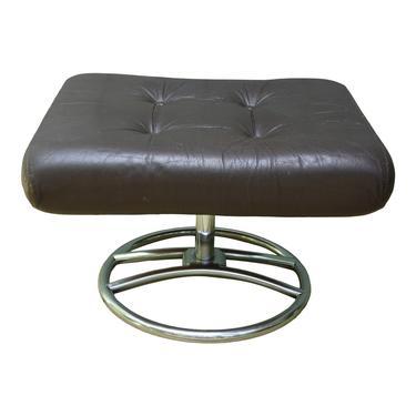 Vintage Mid Century Modern Ekornes Stressless Ottoman Leather & Chrome Footstool