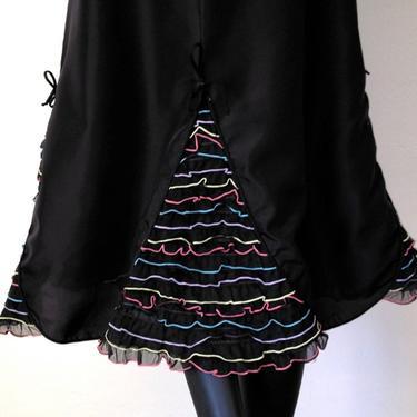 Rockabilly Pin Up 1950s Ruffles & Bows Petticoat Slip Skirt Bettie Page Vintage 50s Carmen Miranda Bombshell Black Multi Extra Small by elliemayhems
