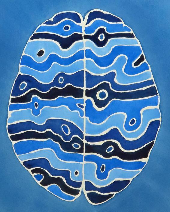 Spudnik: The Space Potato Brain-  original watercolor painting - neuroscience art by artologica