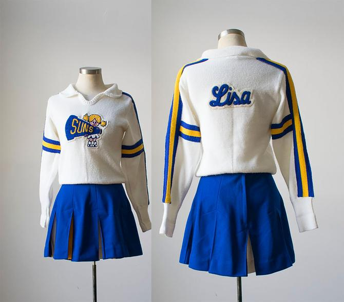 Vintage Cheerleading Outfit / 1960s Knit Cheerleading Sweater / Tennis Skirt / Vintage High School Cheer Outfit / Vintage Athletic Uniform by milkandice