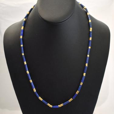 Edgy 80's Egyptian style lapis lazuli gold plated metal necklace, bold blue stone tubes heavy gold plate discs ethnic bead necklace by BetseysBeauties