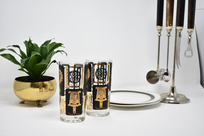 "Swank High Ball Glasses ""Trivets"" Black+Gold Federal Eagle Cathedral Culver Style Tumblers Pair of Two Hollywood Regency 1960s 1970s 1950s by LostandFoundHandwrks"