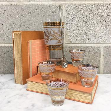 Vintage Cocktail Shaker Set Retro 1960s Mid Century Modern + Frosted Glass + Wheat Design + Set of 4 Matching Shot Glasses + MCM + Barware by RetrospectVintage215