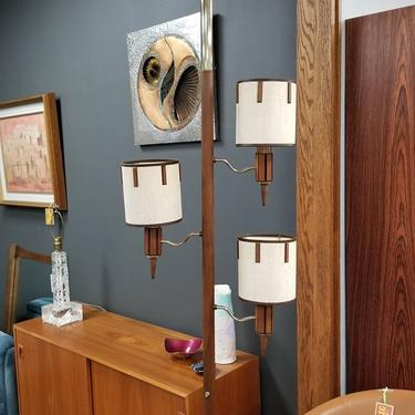 Mid-Century Modern tension pole lamp with 3 shades