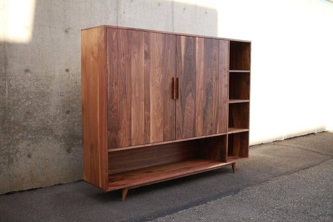 Haigh TV Console, Mid-Century Entertainment Center, Modern Wood TV Hutch, Modern TV Center (Shown in Walnut) by TomfooleryWood