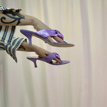BCBG metallic lilac puff thong heels by shopjournal