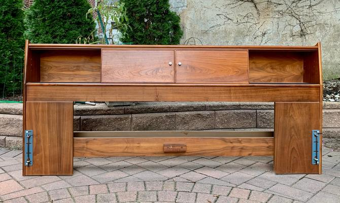 Mid Century MODERN KING Size BED by Kipp Stewart for Drexel Declaration by CIRCA60