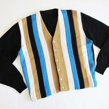 Vintage 1960s Striped Cardigan Large - 60s Multicolor Stripe Cardigan Sweater - Grunge Grandpa Cardigan - Black Cardigan - Kurt Cobain by MILKTEETHS