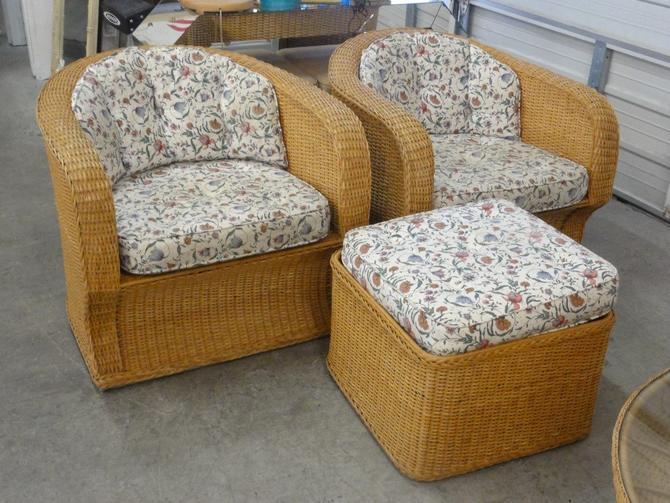 Woven Rattan Lounge Chair & Ottoman Set