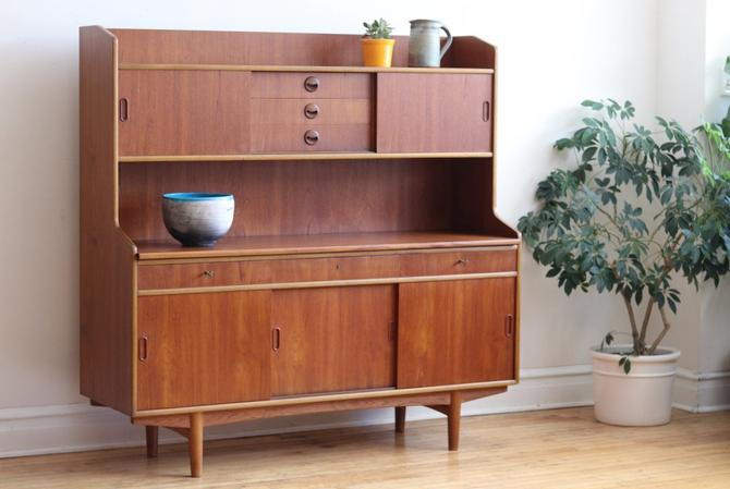 Mid Century Danish Modern Teak Dining Hutch with Counter by SharkGravy