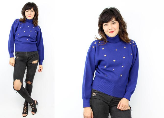 Vintage 80's Royal Blue Turtleneck Sweater / Stars / 1980&#39 ...