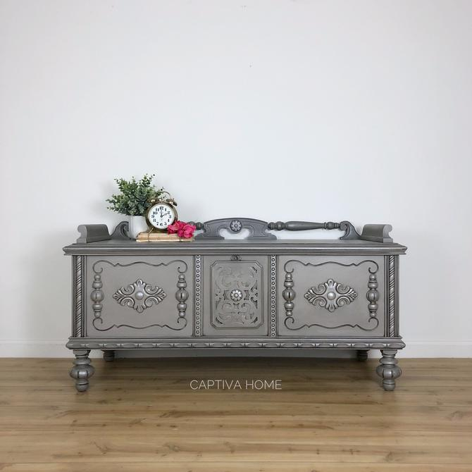 Grey Cedar Chest, Metallic Details, Neutral Decor, Antique Storage Bench, Painted Furniture, Pretty Accent Piece, Bedroom, Living Room by CaptivaHomeDecor