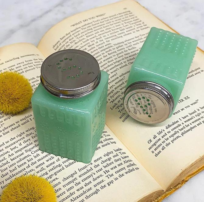 Vintage Salt and Pepper Shakers Retro 1990s Jade Glass + Green + Flower Design + S and P + Spices and Seasonings + Kitchen Decor and Storage by RetrospectVintage215