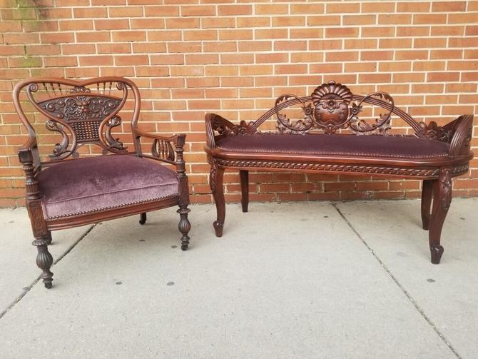 Beautiful Antique Victorian 2pc Hand-Carved Mahogany Newly Upholstered Plum Mohair Armchair and Hall Bench Early 1900s Parlor Set