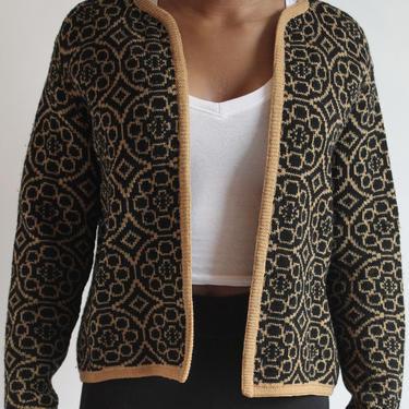 Jantzen Black and Tan Wool Cardigan Sweater fits S - M by BeggarsBanquet