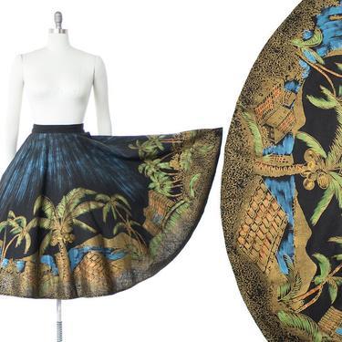 Vintage 1950s Circle Skirt    50s Mexican Hand Painted Novelty Print Metallic Cotton Tourist Souvenir Skirt (medium) by BirthdayLifeVintage