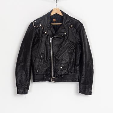 80s Black Leather Moto Jacket - Men's Small | Vintage Excelled Unisex Biker Motorcycle Coat by FlyingAppleVintage