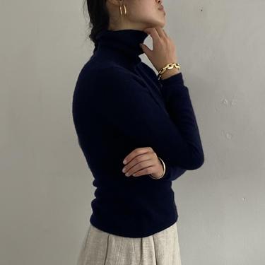 90s TSE cashmere turtleneck sweater / vintage navy midnight blue minimalist cashmere turtleneck classic snug sweater   XS S by RecapVintageStudio