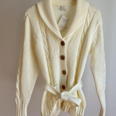Light Beige Cable Knit Cardigan fits S - L  Deadstock by BeggarsBanquet