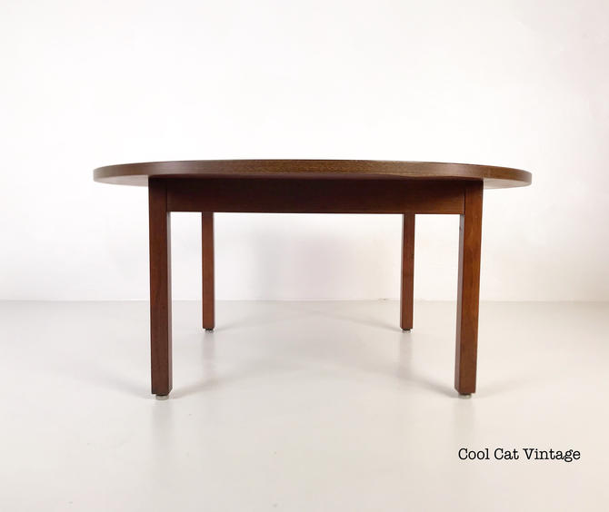 Round Walnut Coffee Table by Thonet, Circa 1960s - *Please see notes on shipping before you purchase. by CoolCatVintagePA