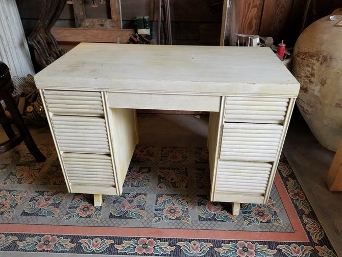 """Distressed 7-Drawer Table 39 3/4"""" L by 20"""" D by 28 7/8"""" H (great for crafting!)"""