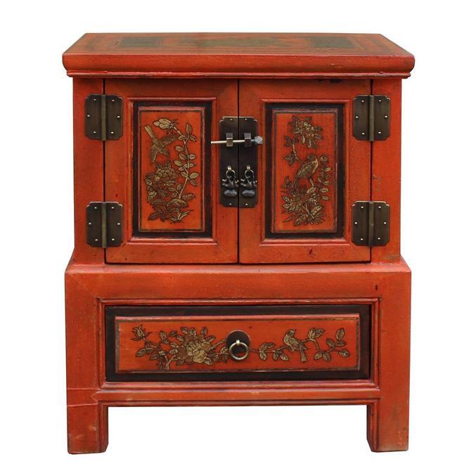 Chinese Oriental Distressed Orange Flower End Table Nightstand cs3468S