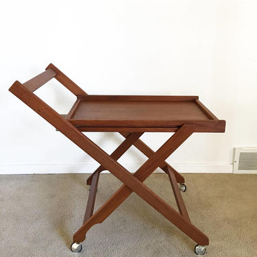vintage mid century Danish modern folding teak rolling serving cart bar server by TripodModern