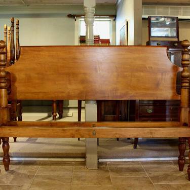 Ball top Bed in Maple, Original Posts Circa 1830 ~ Resized to King w/ Chamfered Roll-back Headboard