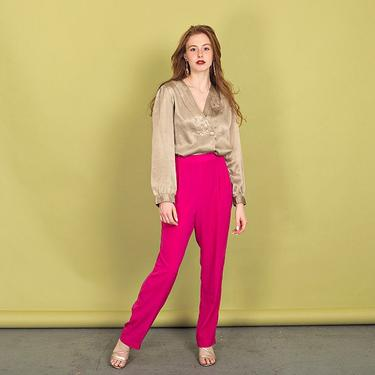 80s Fuchsia Pink Straight Leg Pants Vintage Lounge Trousers by AppleBranchesVintage