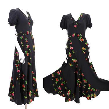70s black mixed media dress S / vintage 1970s swirl pattern puff sleeve rose print dress sz 6 by ritualvintage
