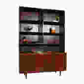 Danish Rosewood 2-Piece Bookcase \/ Display Cabinet