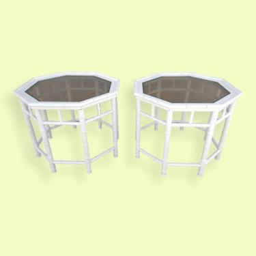 Pair of Palm Beach White Faux Bamboo Octagonal End Tables by VeronaVintageHome