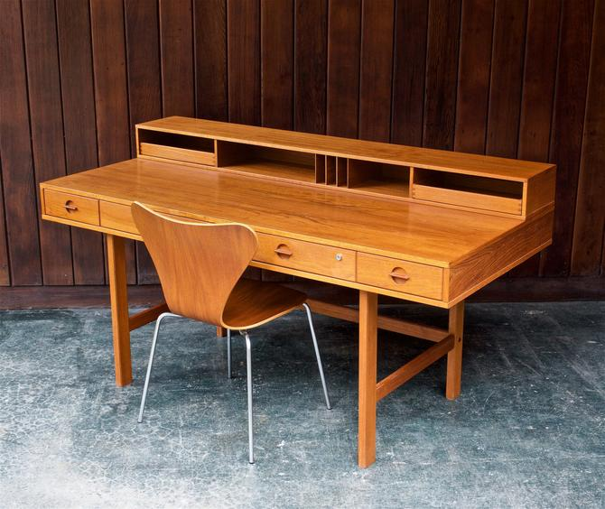 1960s Danish Teak Partner Flip-Top Desk Scandinavian Vintage Mid-Century Modern Work Table Office Architect Peter Lovig by BrainWashington