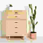Vintage Blonde 5 Drawer Dresser Highboy