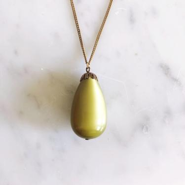 Vintage Green and Brass Pendant Necklace by TheDistilleryVintage