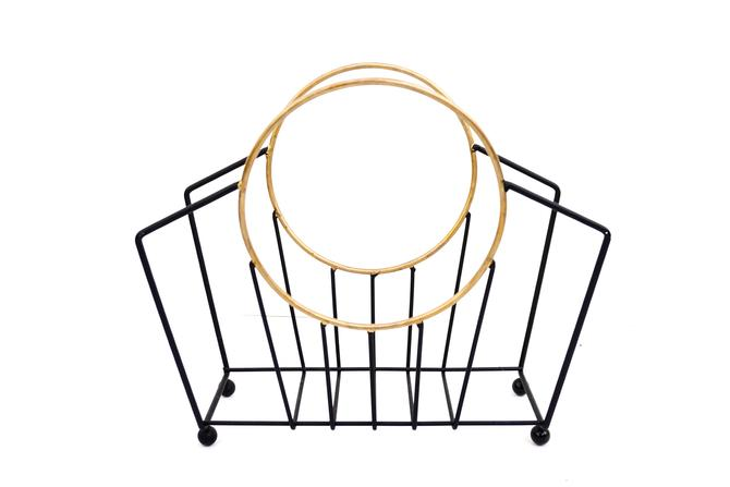 Art Deco Magazine Rack | Vintage Black & Gold Metal Book/Record Basket | Chic Mid-Century Functional Decor by ELECTRICmarigold