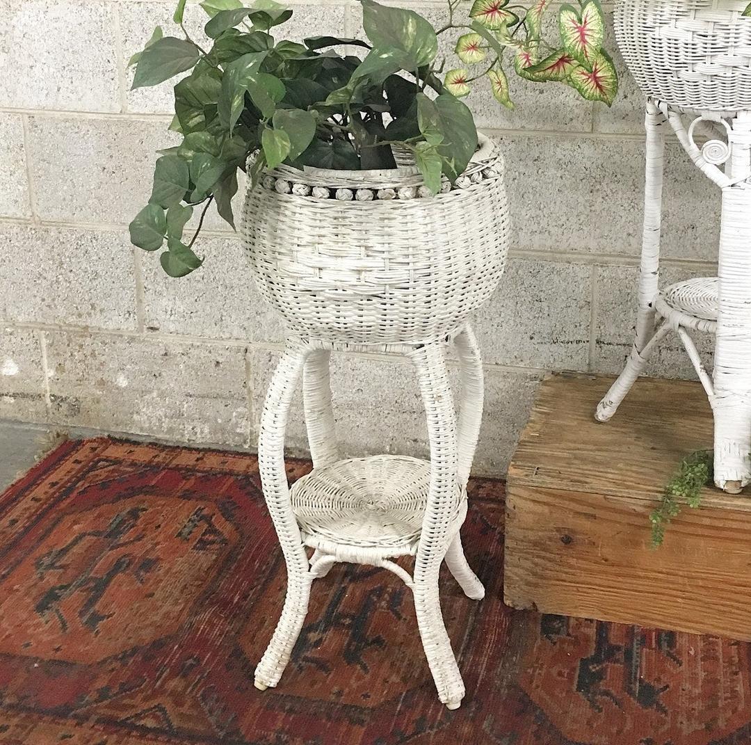 Vintage Plant Stand Retro 1990s White Wicker Indoor