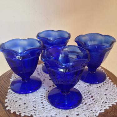 """Vintage Pretty set of (4) Cobalt Blue Glass Sundae Ice cream Bowl with scalloped edges-marked Anchor Hocking-4"""" tall by JoAnntiques"""