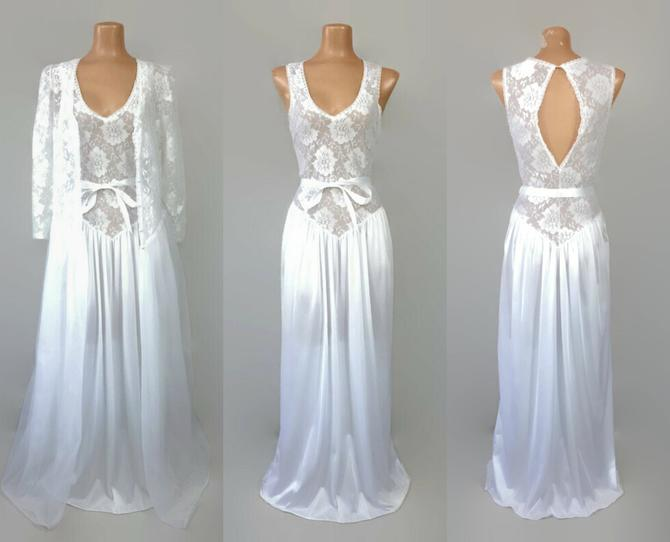 VINTAGE 80s Victorian White Sheer Chiffon and Lace Bridal Peignoir Set | 1980s Wedding Nightgown & Robe | Keyhole Back | Patricia Lingerie M by IntrigueU4Ever