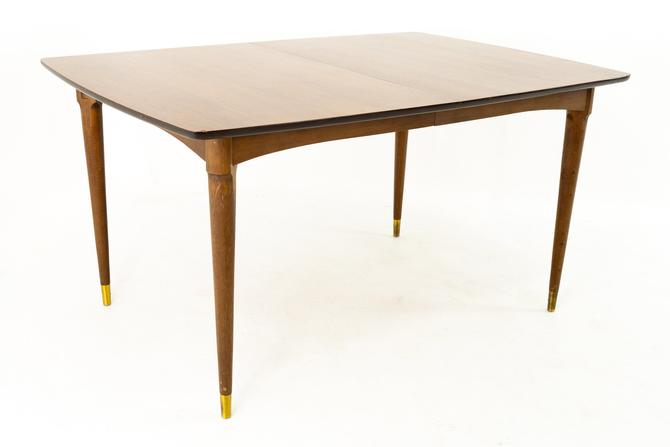 Stanley Furniture Mid Century Walnut and Brass Expanding Dining Table by ModernHill