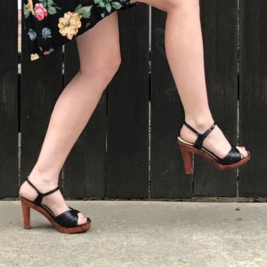 560ba65a49 1970s Wooden Platform Black Heels Size 6- Womens Shoes- Vintage Strappy  Sandals by LoveItShop