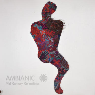 YAQUI Tribe Native American Indian Bold Wall Art Tapestry Weave Man in Red 1930s by AMBIANIC